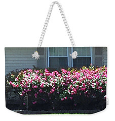 Weekender Tote Bag featuring the photograph Flowers Floral Presentation Home Decorations Gifts For Christmas Holidays Birthday Anniversary Mom  by Navin Joshi