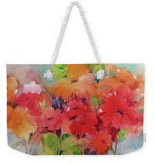 Weekender Tote Bag featuring the painting Flowers For Peggy by Michelle Abrams