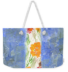 Weekender Tote Bag featuring the painting Flowers In A Bottle by Jamie Frier