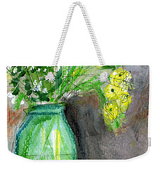 Flowers In A Green Jar- Art By Linda Woods Weekender Tote Bag by Linda Woods