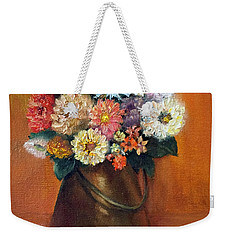Weekender Tote Bag featuring the painting Flowers In A Metal Vase  by Marlene Book