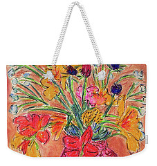Flowers In Red Vase Weekender Tote Bag
