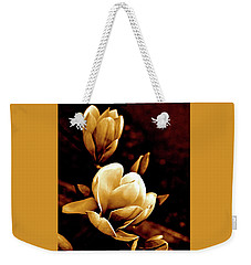 Flowers In Sepia  Weekender Tote Bag by Cathy Dee Janes