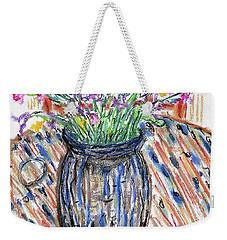 Flowers In Stripped Vase Weekender Tote Bag