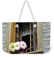 Weekender Tote Bag featuring the photograph Flowers On The Sill by John Schneider