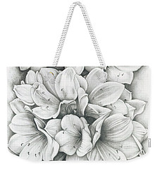 Weekender Tote Bag featuring the drawing Clivia Flowers Pencil by Melinda Blackman