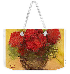 Flowers Red Weekender Tote Bag by Marlene Book