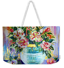 Weekender Tote Bag featuring the painting Flowers Still Life  by Roberto Gagliardi