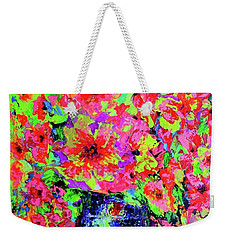 Weekender Tote Bag featuring the painting Flowers#2 by Viktor Lazarev