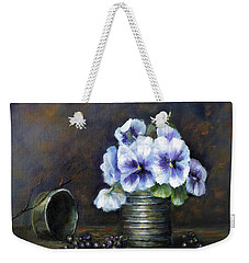 Weekender Tote Bag featuring the painting Flowers,pansies Still Life by Katalin Luczay