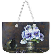 Weekender Tote Bag featuring the painting Flowers,pansies Still Life by Luczay