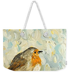 Weekender Tote Bag featuring the painting Fluffy Bird In Snow by Maria Langgle