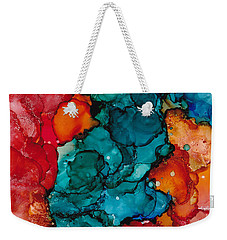 Weekender Tote Bag featuring the painting Fluid Depths Alcohol Ink Abstract by Nikki Marie Smith