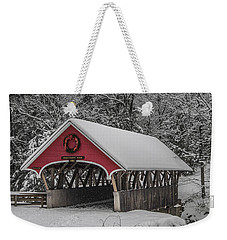 Flume Covered Bridge In Winter Weekender Tote Bag