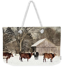 Weekender Tote Bag featuring the photograph Flurries On The Farm by Robin-lee Vieira