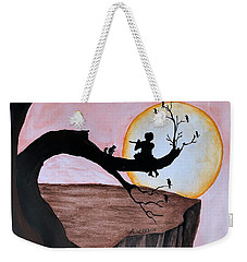 Weekender Tote Bag featuring the painting Flutist by Edwin Alverio