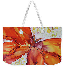 Weekender Tote Bag featuring the painting Flutter by Joanne Smoley