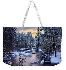 Weekender Tote Bag featuring the photograph Fly Fisherman On The Metolius by Cat Connor