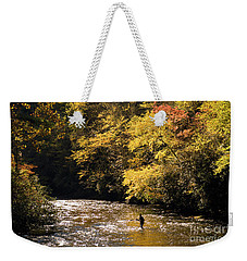 Fly Fisherman On The Tellico - D010008 Weekender Tote Bag by Daniel Dempster