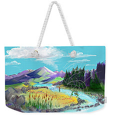 Fly Fishing With Aa Wooly Worm. Weekender Tote Bag