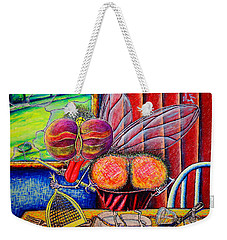Weekender Tote Bag featuring the painting fly by Viktor Lazarev