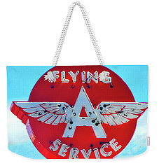 Weekender Tote Bag featuring the photograph Flying A Service Sign by Joan Reese