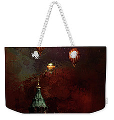 Weekender Tote Bag featuring the digital art Flying Balloons Over Stockholm by Jeff Burgess