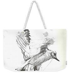 Flying Bird Sketch Weekender Tote Bag by Denise Fulmer