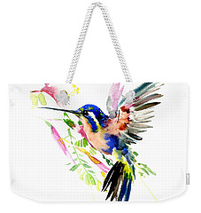 Flying Hummingbird Ltramarine Blue Peach Colors Weekender Tote Bag by Suren Nersisyan