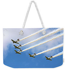 Weekender Tote Bag featuring the photograph Flying In Formation by Kristin Elmquist
