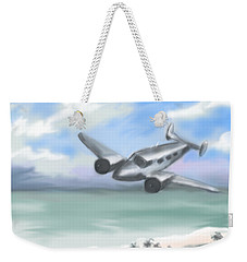 Weekender Tote Bag featuring the painting Flying Low by Jean Pacheco Ravinski