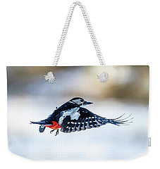 Weekender Tote Bag featuring the photograph Flying Woodpecker by Torbjorn Swenelius