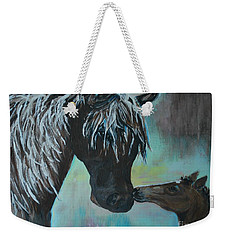 Weekender Tote Bag featuring the painting Foal Kiss by Leslie Allen