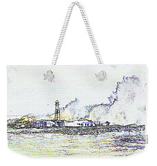 Weekender Tote Bag featuring the photograph Foamy Sea At The Breakwater by Nareeta Martin