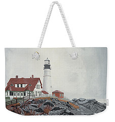 Fog Approaching Portland Head Light Weekender Tote Bag