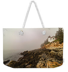 Weekender Tote Bag featuring the photograph Fog At Bass Harbor Lighthouse by Jeff Folger