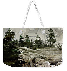 Weekender Tote Bag featuring the painting Fog At The Coast by James Williamson