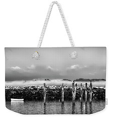 Weekender Tote Bag featuring the photograph Fog Beyond The Breakwater by Richard Bean