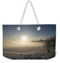 Weekender Tote Bag featuring the photograph Fog In Lofoten 1 by Dubi Roman