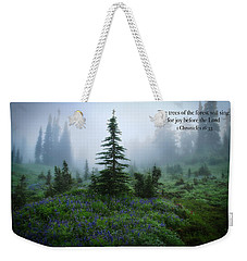 Weekender Tote Bag featuring the photograph Fog In The Forest by Lynn Hopwood
