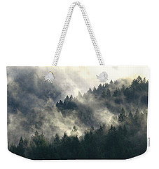 Weekender Tote Bag featuring the photograph Fog Moving Through The Hills by Katie Wing Vigil
