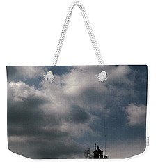 Fog On Smith Point Lighthouse  Weekender Tote Bag by Skip Willits
