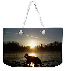 Weekender Tote Bag featuring the photograph Fog Over Mississippi River by Kent Lorentzen