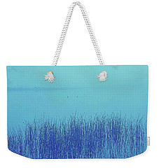 Weekender Tote Bag featuring the photograph Fog Reeds by Laurie Stewart