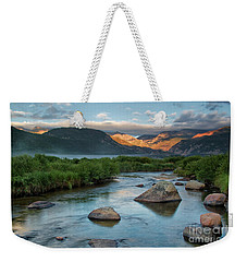 Fog Rolls In On Moraine Park And The Big Thompson River In Rocky Weekender Tote Bag