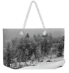Fog-shrouded Forest Weekender Tote Bag