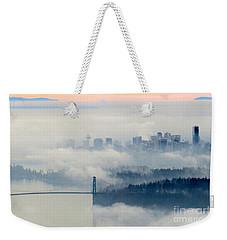 Fog-shrouded Vancouver Weekender Tote Bag