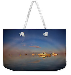 Weekender Tote Bag featuring the photograph Fogbow In Lubec Harbor by Rick Berk