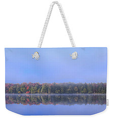 Weekender Tote Bag featuring the photograph Foggy Autumn Panorama by David Patterson