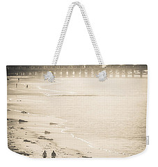 Weekender Tote Bag featuring the photograph Foggy Beach Walk by T Brian Jones